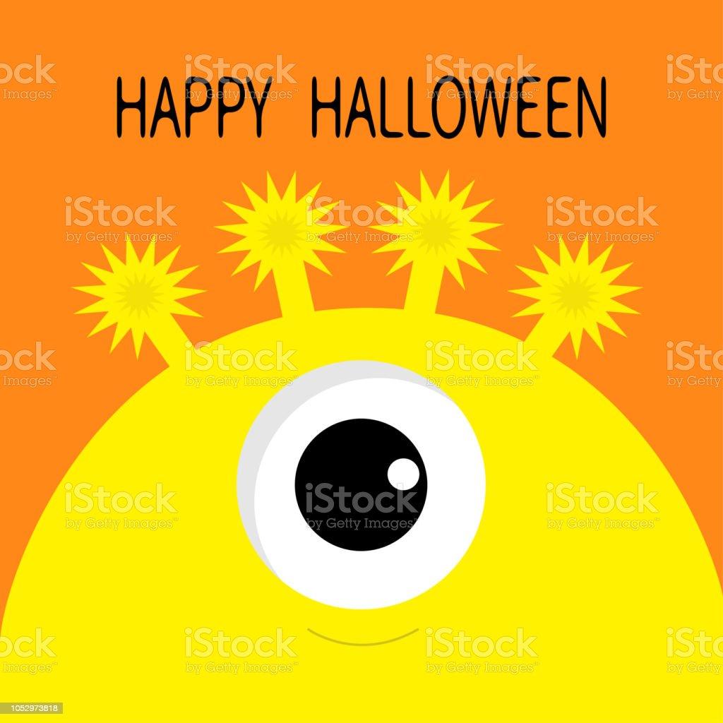 Gelbe Karte Lustig.Happy Halloweenkarte Monster Kopf Silhouette Mit Einem Auge Gelbe