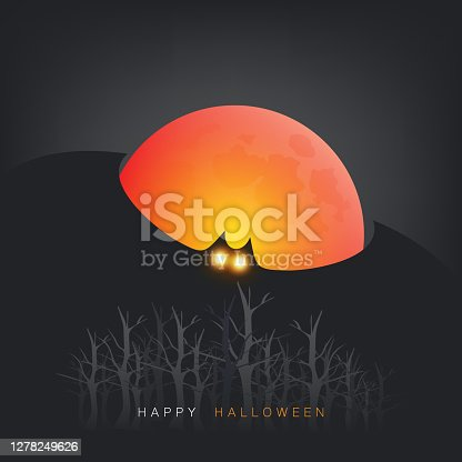 Happy Halloween Design with Bat Flying Under Full Moon - Illustration in Editable Vector Format