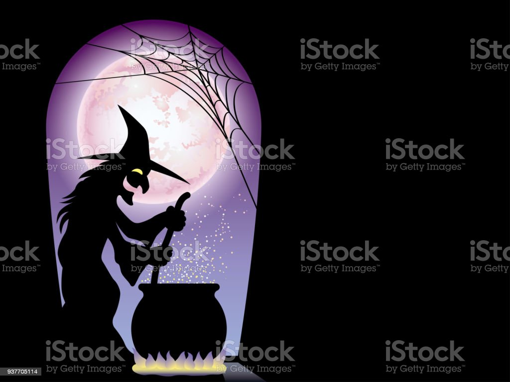 Happy Halloween Card Template With A Witch Preparing A Secret Elixir.  Royalty Free Happy