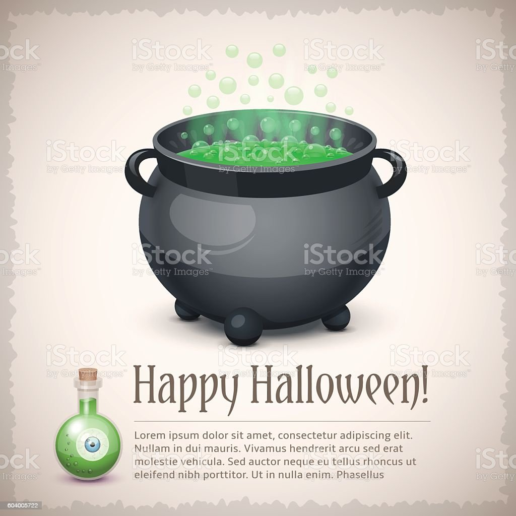 Happy Halloween card with a boiling witch cauldron vector art illustration