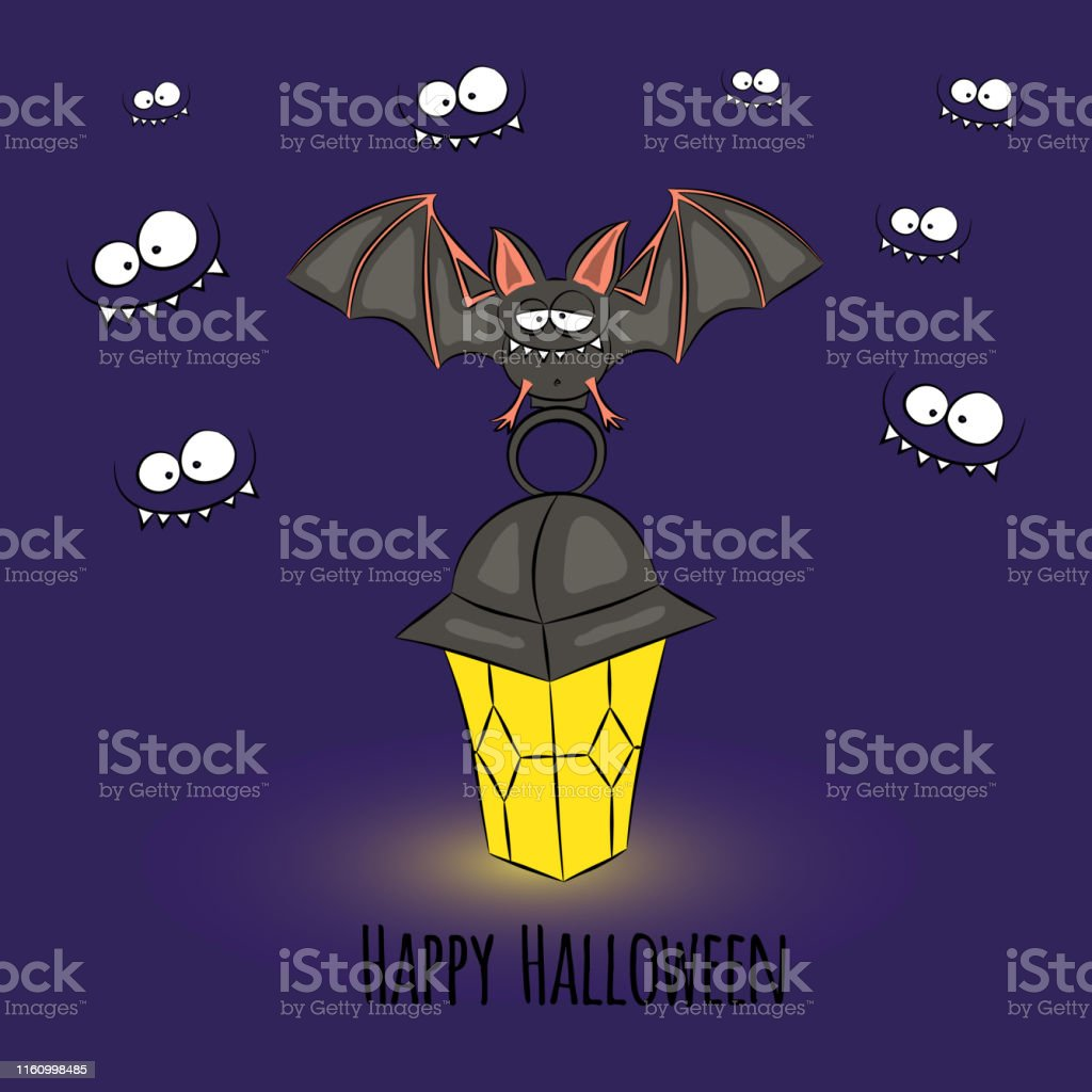 Happy Halloween card with cute bat sitting on a lamp in the dark....