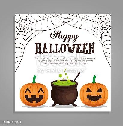 halloween card with pumpkins and cauldron vector illustration design