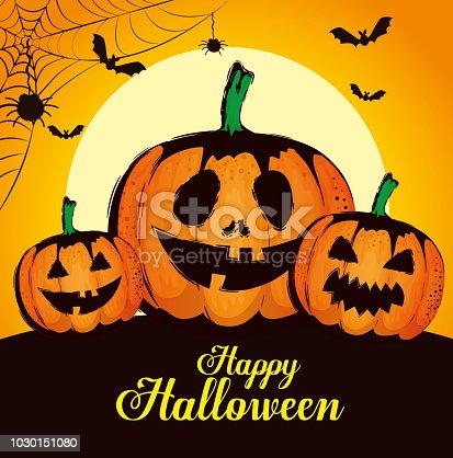 happy halloween card with pumpkins vector illustration design