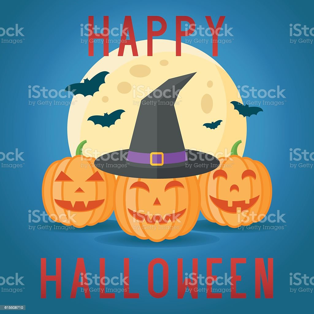 Happy Halloween Card With Pumpkins, Witch Hat, Moon And Bats Royalty Free  Stock
