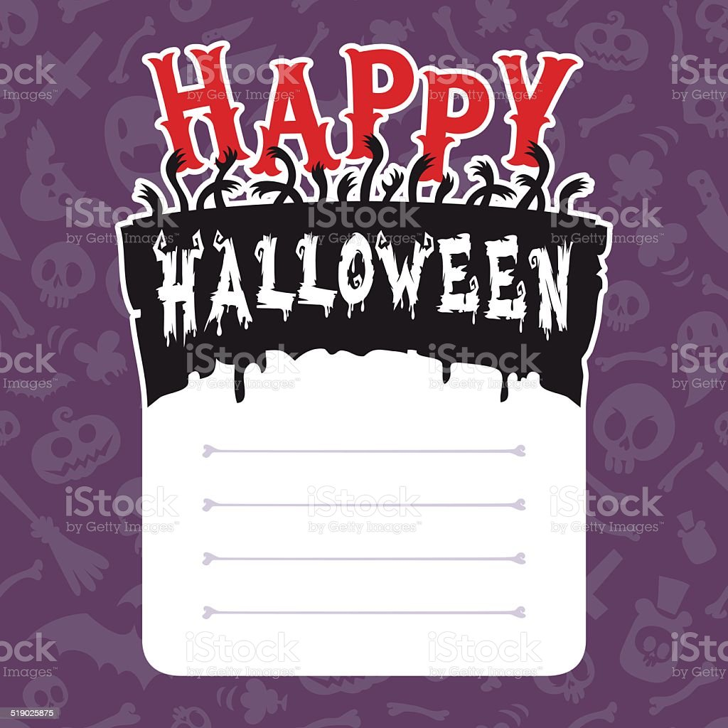 happy halloween card with text box stock vector art 519025875 istock