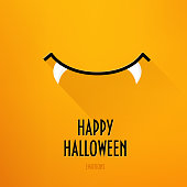 Happy Halloween card with vampire's smile and greeting text on orange background. Flat design. Vector.