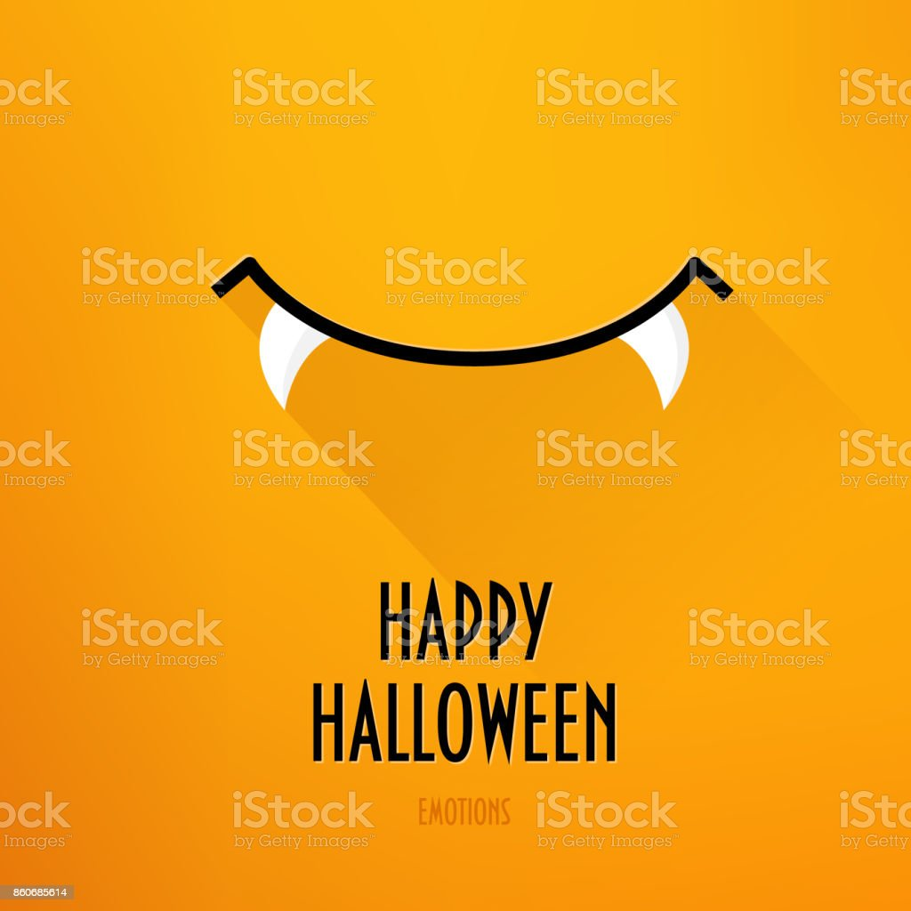 Happy Halloween card with vampire's smile and greeting text on orange background. Flat design. Vector. vector art illustration