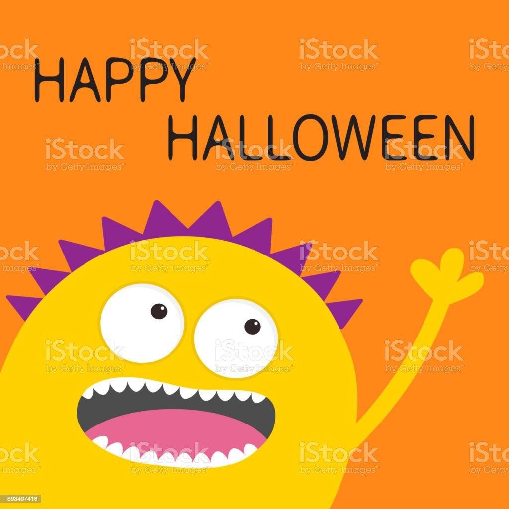 Gelbe Karte Lustig.Happy Halloweenkarte Gelbe Schreienden Gruselige Monster Kopf