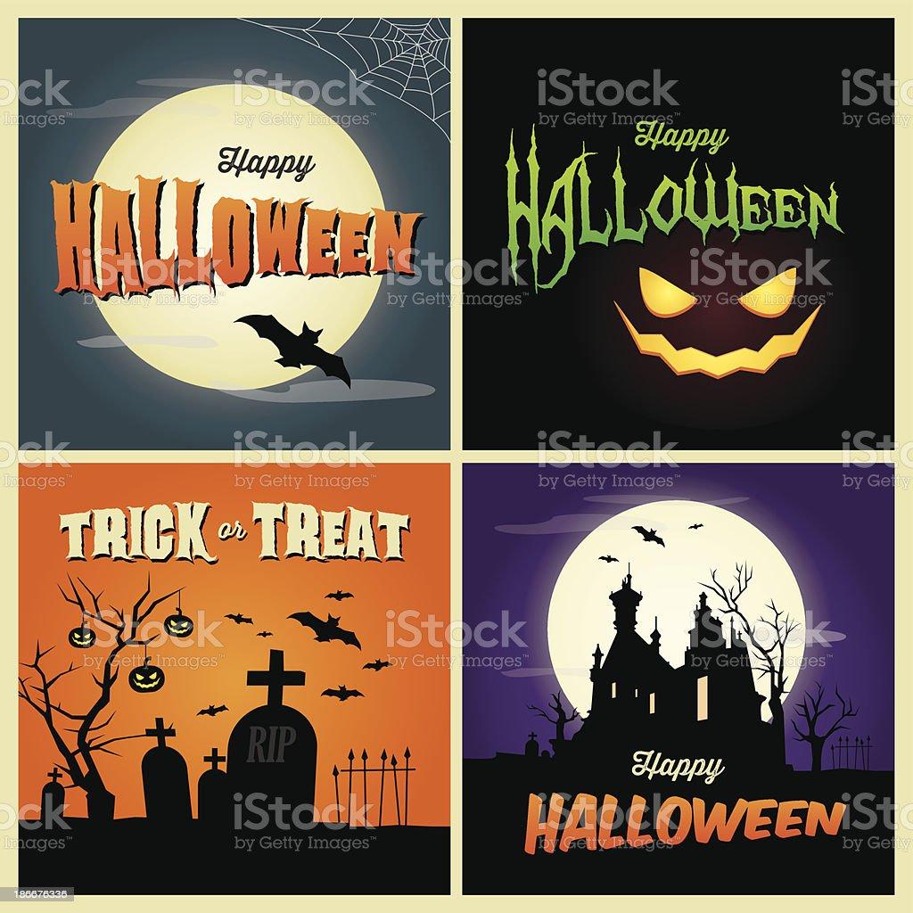Happy halloween-Karten – Vektorgrafik