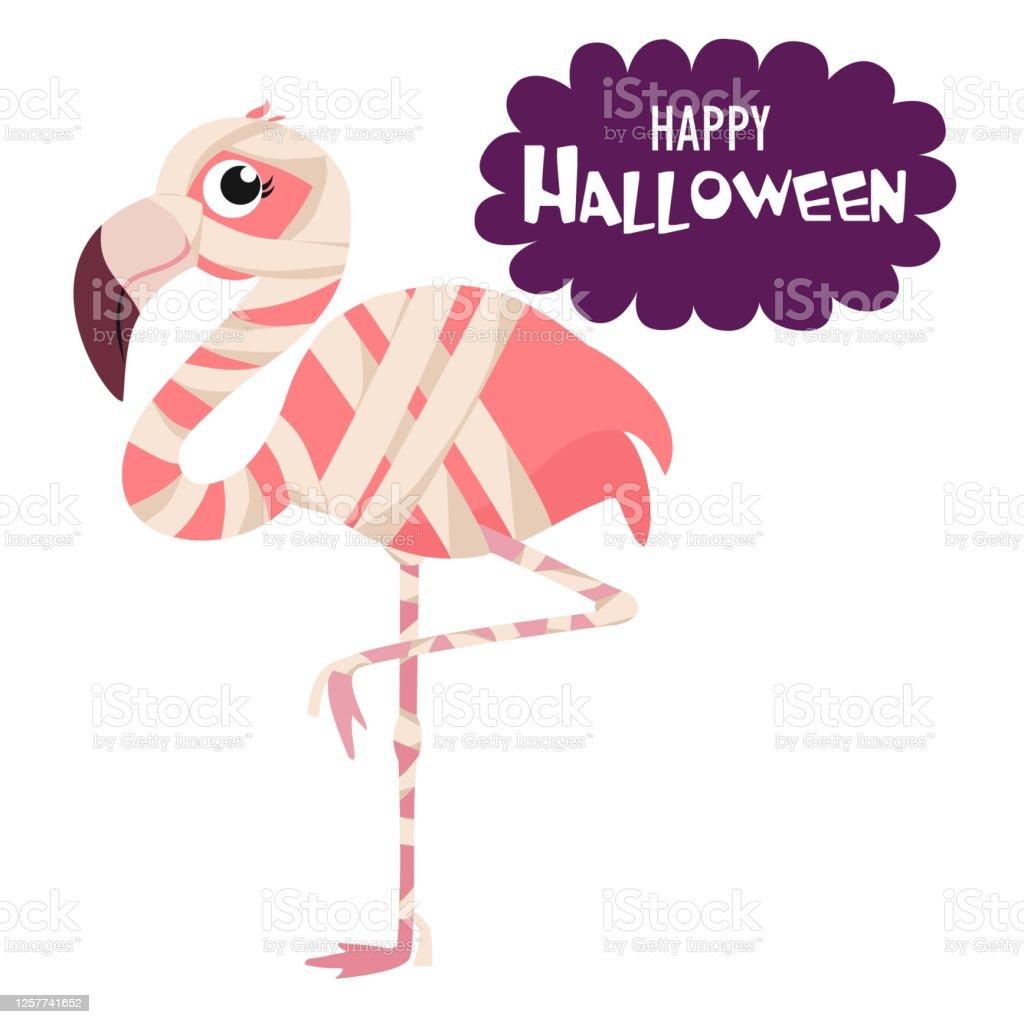Vetores De Feliz Dia Das Bruxas Flamingo De Desenho Animado Em Uma Fantasia De Mumia Ilustracao Vetorial Engracada Pode Ser Usado Como Elemento Para Cartas Banners Cartazes E Mais Imagens De Animal