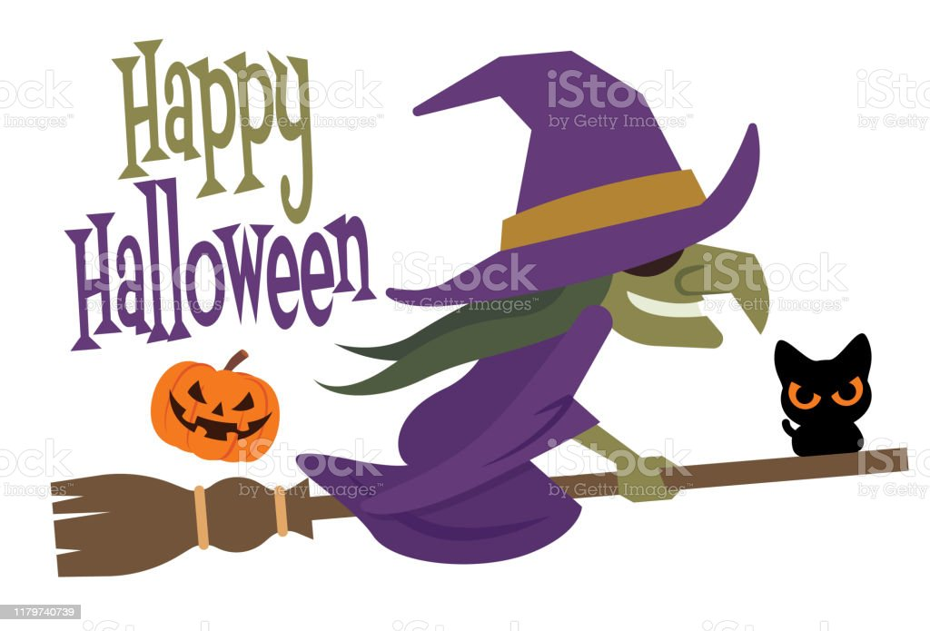 Happy Halloween Cartoon Halloween Witch Flying On Broom ...