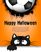 Happy Halloween. Cat muzzle is looking up at the soccer ball. Design pattern for banner, poster, greeting card, flyer, party invitation. Cartoon style. Vector illustration
