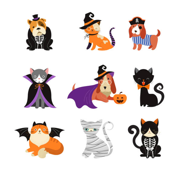 Happy Halloween - cats and dogs in monsters costumes, Halloween party. Vector illustration, banner, elements set Happy Halloween - cats and dogs in monsters costumes, Halloween party. Vector illustration, banner pet clothing stock illustrations