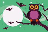 happy halloween celebration card with owl and bats scene vector illustration design