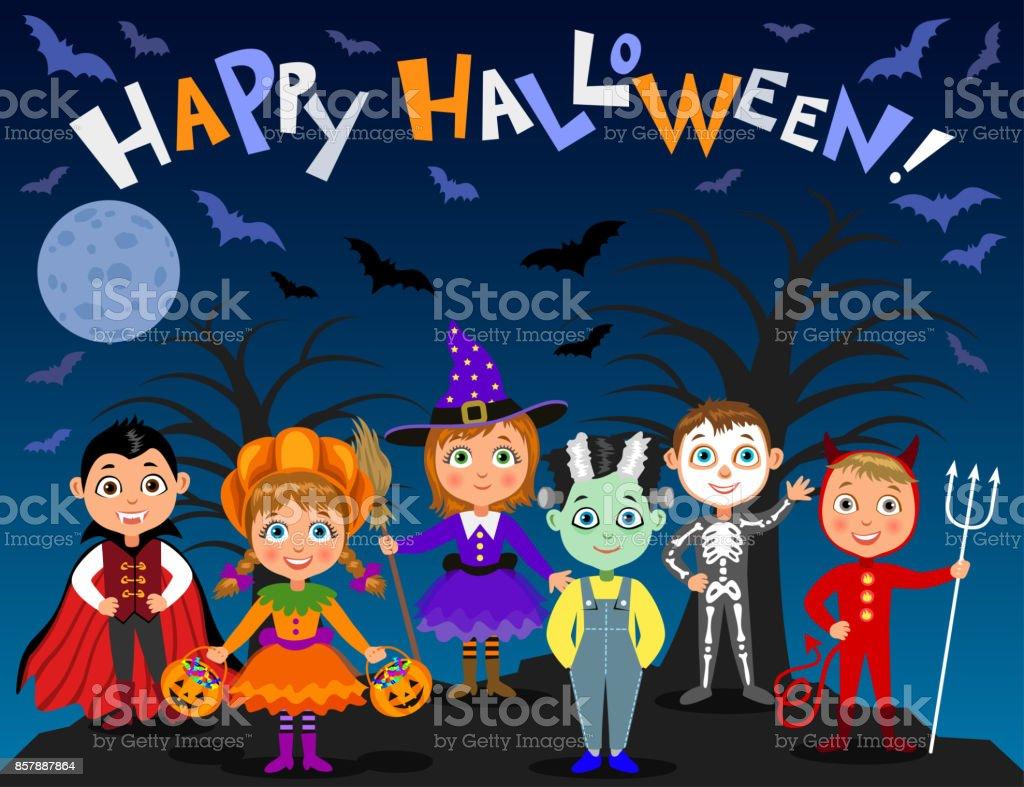 Kinderen Halloween.Vrolijke Halloween Kinderen In Halloween Kostuums Vampier