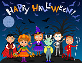 Happy Halloween. Children in halloween costumes. Vampire Dracula, devil, witch, pumpkin, zombie, skeleton. Boys and girls on nights background. Vector characters