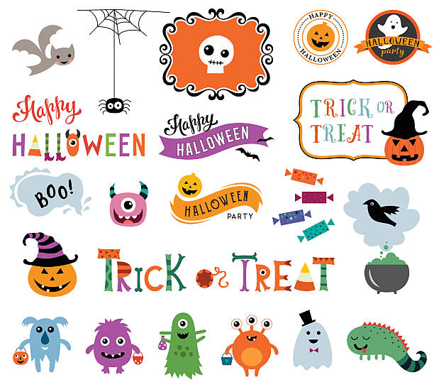 happy halloween collection - halloween stock illustrations, clip art, cartoons, & icons