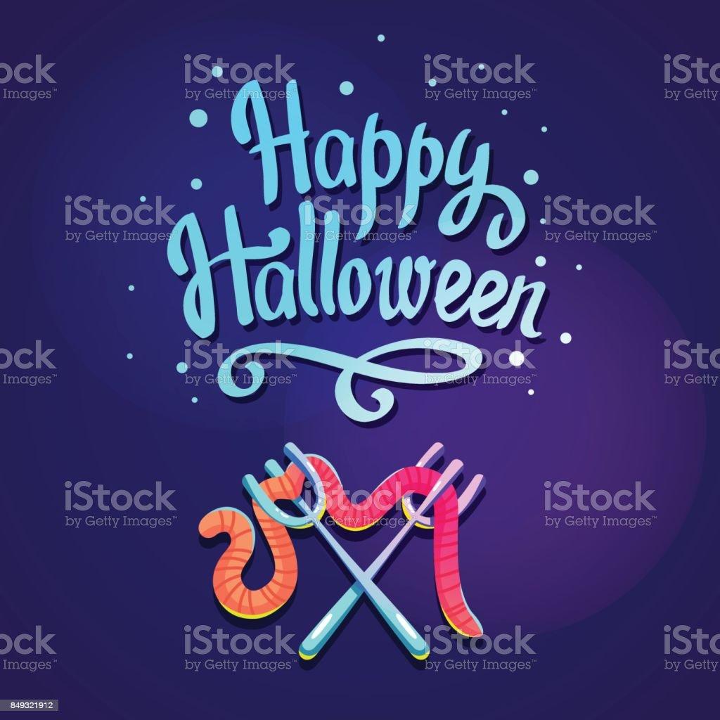 暗い紫色の背景に幸せなハロウィーンの組成物ワームに面白い青フォーク漫画のスタイルの休日のためのベクトル図 お祝いのベクターアート素材や画像を多数ご用意 Istock