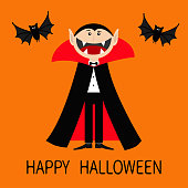 Happy Halloween. Count Dracula wearing black and red cape. Cute cartoon vampire character with big open mouth, tongue and fangs. Two flying bat animal. Flat design. Orange background.