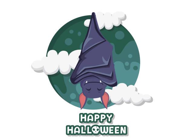 fröhliches halloween. süße cartoon fledermaus fliegen vektor auf hintergrund. waldtier. flaches design. grußkarte, party-einladung. vektor-illustration - megabat stock-grafiken, -clipart, -cartoons und -symbole