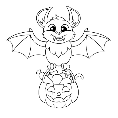 Happy Halloween. Cute cartoon bat holding pumpkin with candies. Black and white vector illustration for coloring book