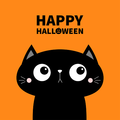 Happy Halloween. Cute cat face head icon. Cartoon character. Kawaii baby animal. Notebook cover, tshirt, greeting card, sticker print. Flat design. Orange background. Isolated.