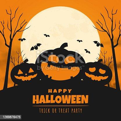 istock happy halloween day banner design. vector illustration 1269876475