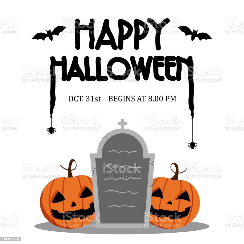 Dag Halloween.Happy Halloween Dag En Bat Spin Op Tekst Cute Pompoen Glimlach Spooky Eng Maar Schattig En Kerkhof Partij Geisoleerd Op Een Witte Achtergrond