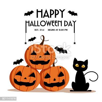 Ilustración de Feliz Día De Halloween Murciélago Y Araña En Texto ...
