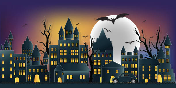 Happy halloween day ghost party with castle. Happy halloween day ghost party with castle on moon in the sky over the abandoned village background, flat design vector illustration. spooky halloween town stock illustrations