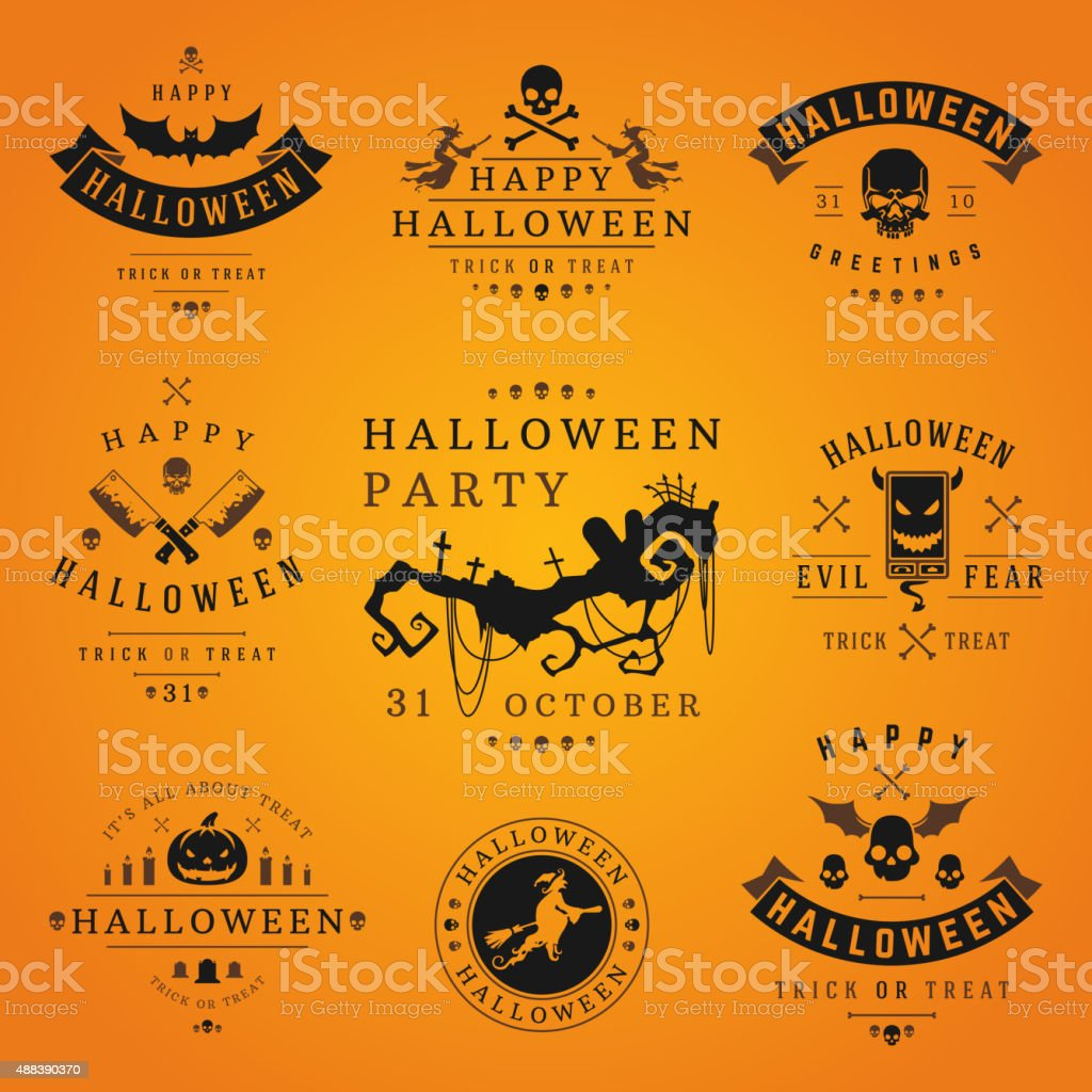 Happy Halloween day labels and badges vector art illustration