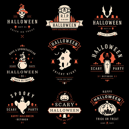 Happy Halloween day labels and badges
