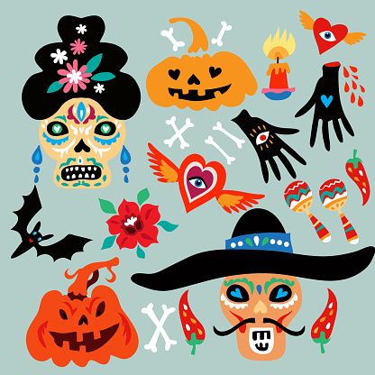 Happy Halloween, Day of the Dead  , Dia de los Muertos set elements for poster in cute cartoon style. Background holiday design
