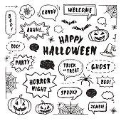 Happy Halloween design elements. Hand Drawn set