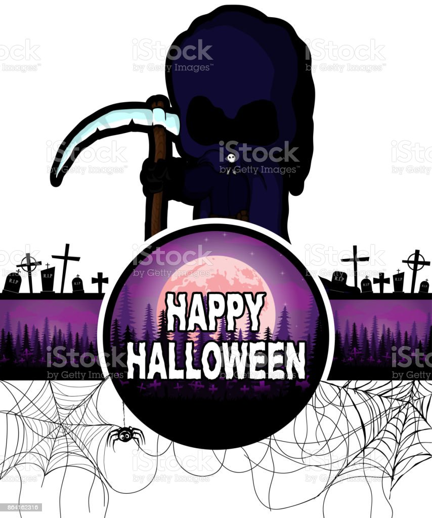 Happy Halloween Design template with Dark reaper/Death. royalty-free happy halloween design template with dark reaperdeath stock vector art & more images of adult