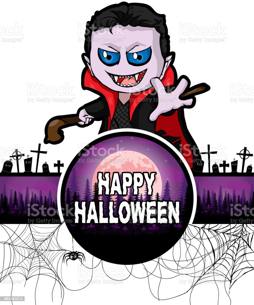 Happy Halloween Design template with Dracula royalty-free happy halloween design template with dracula stock vector art & more images of adult
