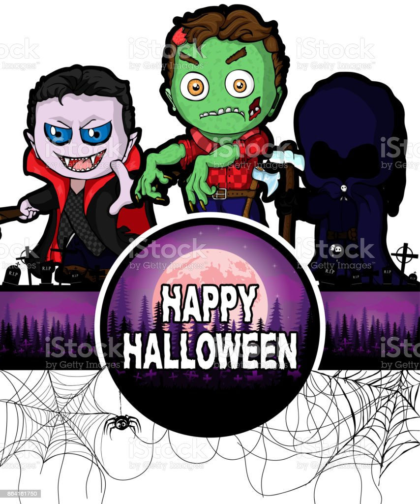 Happy Halloween Design template with Dracula, Zombie and Dark Reaper. royalty-free happy halloween design template with dracula zombie and dark reaper stock vector art & more images of adult