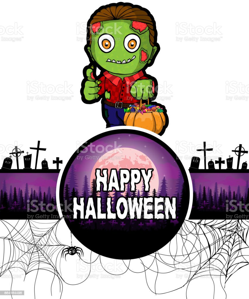 Happy Halloween Design template with Zombie. royalty-free happy halloween design template with zombie stock vector art & more images of adult