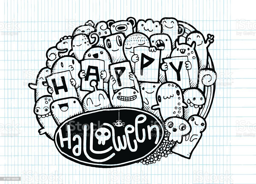 Happy Halloween Doodle Halloween Words And Icon Background stock ...