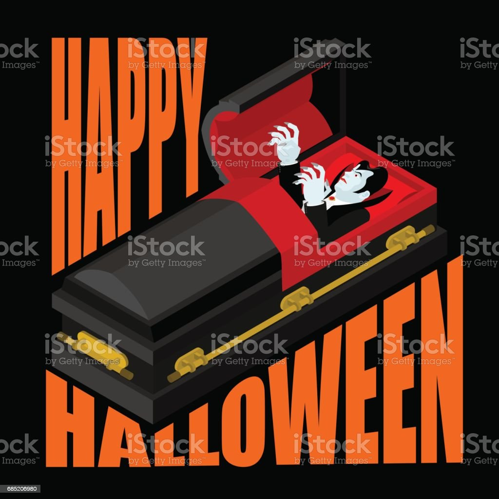 Happy Halloween Dracula In Open Coffin Illustration For
