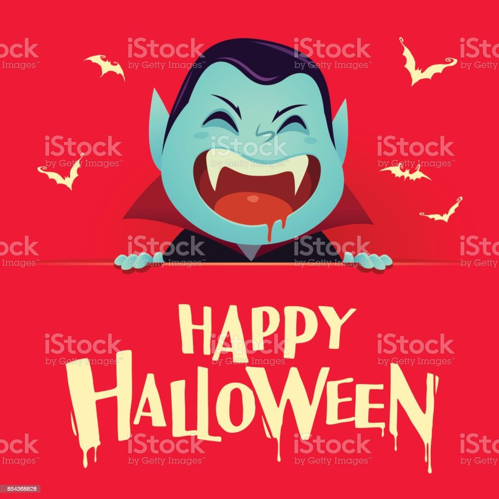Happy Halloween Dracula Vampire With Big Signboard Retro Vintage Red Background Stock Illustration Download Image Now Istock