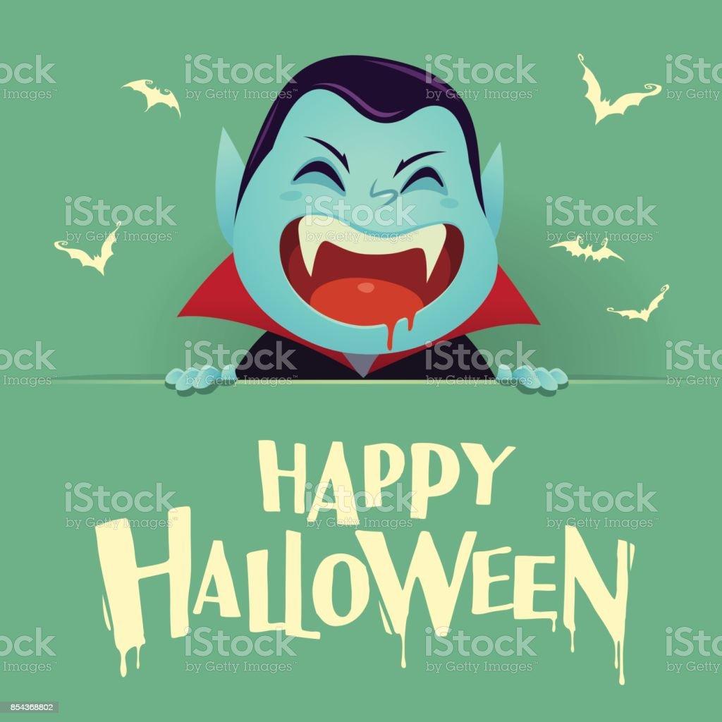 Happy Halloween. Dracula Vampire with big signboard. Retro vintage. Green background. vector art illustration