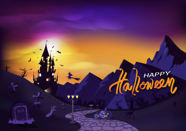 Happy Halloween, fantasy poster invitation, greeting card, background vector illustration Happy Halloween, fantasy poster invitation, greeting card, background vector illustration scary halloween scene silhouettes stock illustrations