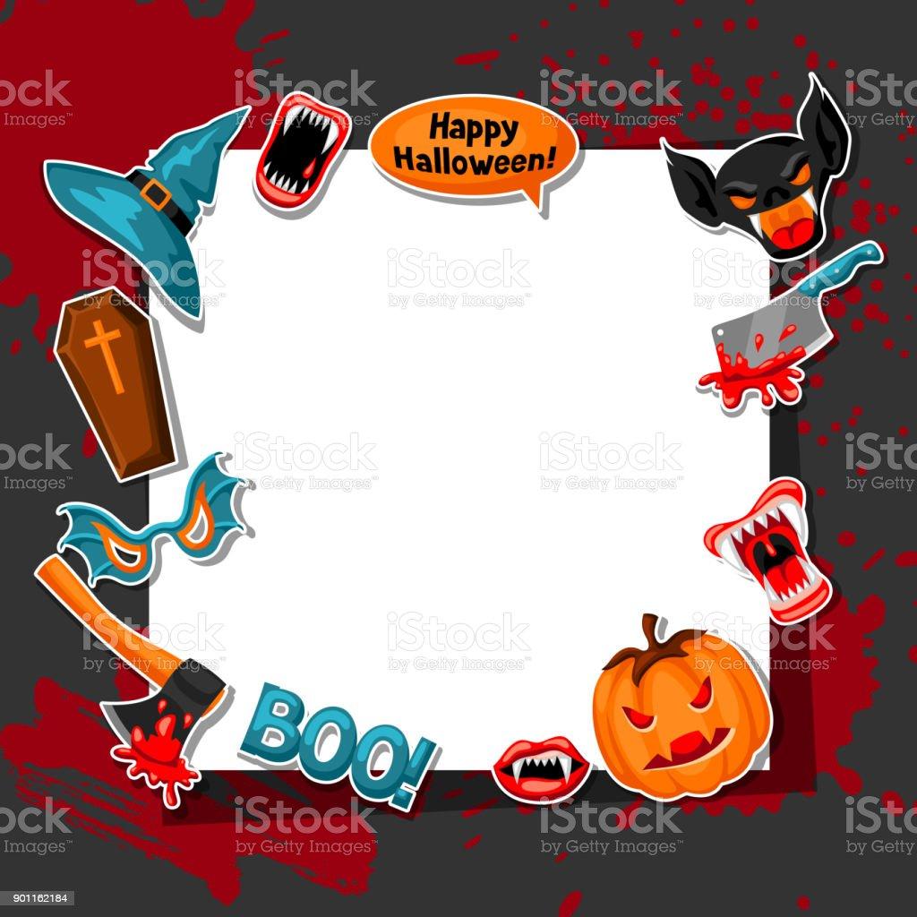 happy halloween frame with cartoon holiday sticker symbols