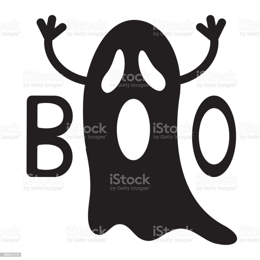 Happy Halloween Funny Black Flying Ghost With Hands Boo Text ...