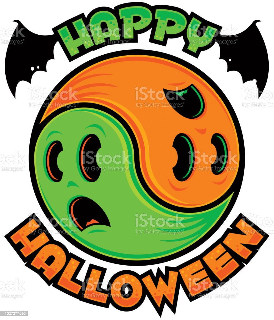 Happy Halloween Ghost Yin-Yang vector art illustration