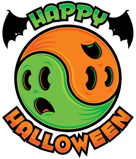 Happy Halloween Ghost Yin-Yang vector art illustration