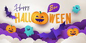 Happy Halloween greeting banner or party invitation with Holiday calligraphy, clouds, pumpkins, bats and cute ghosts on white violet background. Paper cut style. Template for advertising, sale