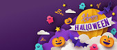 Happy Halloween greeting banner or party invitation with night clouds, pumpkins, bats and cute ghosts on violet background with big yellow moon. Paper cut style, digital craft style.