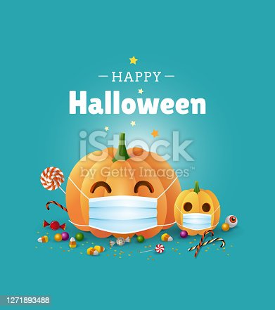 istock Happy Halloween greeting card design. Cute illustration with pumpkins wearing face masks for protection from coronavirus and sweets on green background. - Vector 1271893488